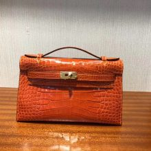 Luxury Hermes 9J Orange Alligator Shiny Crocodile Minikelly Clutch Bag22CM Gold Hardware