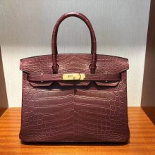 Noble Hermes CK55 Rouge Hermes Crocodile Matt Birkin Bag30CM Gold Hardware