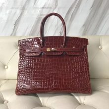 Wholesale Hermes CK31 Miel Shiny Crocodile Leather Birkin35CM Bag Gold Hardware