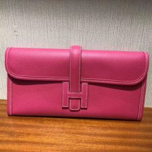 Pretty Hermes Epsom Calf Jige Wallet Women's Clutch Bag Wallet in E5 Rose Tyrien