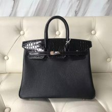 Sale Hermes CK89 Black Calf Leather/Crocodile Leather Birkin25CM Handbag Rose Gold Hardware