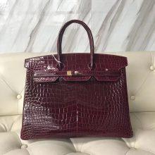 Luxury Hermes F5 Bourgogne Red Shiny Porosus Crocodile Birkin Bag35CM Gold Hardware
