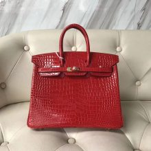 Discount Hermes Shiny Crocodile Leather Birkin25CM Bag in CK95 Braise Gold Hardware