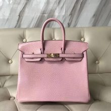 New Arrival Hermes 1Q Rose Confetti Lizard Leather Birkin25CM Bag Gold Hardware
