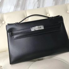 New Hermes Box Calf Leather Minikelly Clutch Bag in CK89 Black Silver Hardware