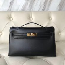 Elegant Hermes CK89 Black Box Calf Leather Minikelly22CM Evening Bag Gold Hardware