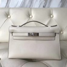 Wholesale Hermes Swift Calf Minikelly Pochette 22CM in CK10 Craie Silver Hardware