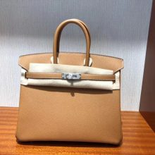 Fashion Hermes CK37 Gold Epsom Calf Leather Birkin Bag25CM Silver Hardware