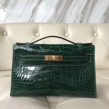 Luxury Hermes CK67 Vert Fonce Shiny Crocodile Minikelly22CM Evening Clutch Bag Gold Hardware