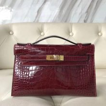 Pretty Hermes F5 Bourgogne Red Alligator Shiny Crocodile Minikelly Evening Bag22CM