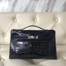 Discount Hermes Shiny Crocodile Leather Minikelly Clutch Bag in 7K Blue Indgo Silver Hardware
