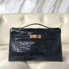 Sale Hermes 7K Blue Indgo Shiny Crocodile Leather Minikelly Evening Bag Gold Hardware