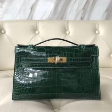 Fashion Hermes Shiny Crocodile Minikelly Evening Clutch Bag in CK67 Vert Fonce Gold Hardware