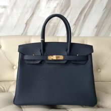 Wholesale Hermes 7K Blue Saphir Togo Calf Leather Birkin30CM Bag Gold Hardware