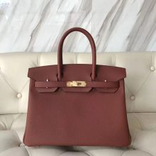 Noble Hermes Togo Calf Leather Birkin30CM Women's Handbag in 6C Cuivre Gold Hardware