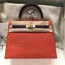 Pretty Hermes A5Bougainvillier Red/9W Crocus Purple Ostrich Leather Kelly25CM Bag