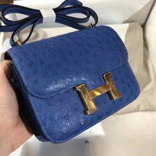 Luxury Hermes OstrichLeather Constance Shoulder Bag19CM in 7Q Blue Mykonos