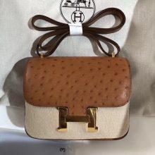 Discount Hermes CK37 Gold OstrichLeather Constance19CM Bag Gold Hardware