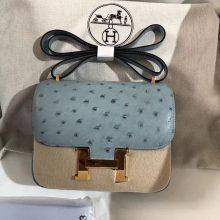 Wholesale Hermes 8U Blue Glacier OstrichLeather Constance Bag19CM Gold Hardware