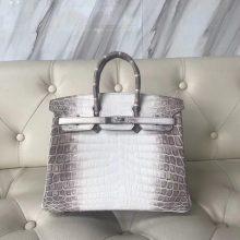 Hot Sale Hermes Himalaya CrocodileLeather Birkin Bag25CM Silver Hardware