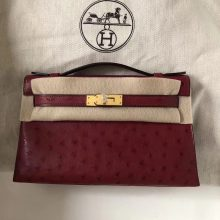Sale Hermes Ostrich Leather Minikelly Evening Clutch Bag in Q5 Rouge Casaque Gold Hardware