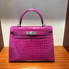 New Arrival Hermes L3 Rose Purple Porosus Shiny Crocodile Kelly Bag28CM Silver Hardware