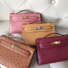Sale Hermes Ostrich Leather Minikelly Pochette22CM Evening Clutch Bag Multicolor