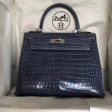 Wholesale Hermes 7N Blue Tampete Shiny Crocodile Leather Kelly Bag28CM Silver Hardware