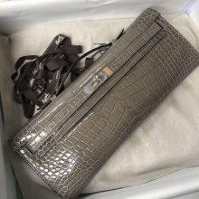 Wholesale Hermes CK81 Gris Tourterelle Porosus Shiny Crocodile Kelly Cut Evening Bag Silver Hardware