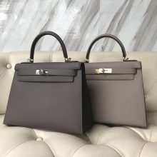 Fashion Hermes 8F Etain Grey/M8 Gris Ashpite  Epsom Calf Sellier Kelly Bag28CM