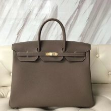 Discount Hermes Togo Calf Leather Birkin Bag40cm in CK18 Etoupe Grey Gold Hardware