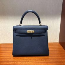 Fashion Hermes Togo Calf Retourne Kelly Bag25CM in 7K Blue Saphir Gold Hardware