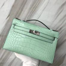 Wholesale Hermes 6U Mint Green Alligator Matt Crocodile Minikelly Pochette 22CM Silver Hardware