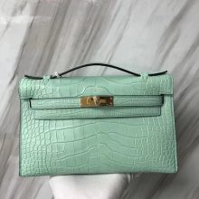 Fashion Hermes Alligator Matt Crocodile Minikelly Clutch Bag in 6U Mint Green Gold Hardware