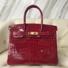 Sale Hermes CK55 Rouge H Shiny Crocodile Birkin Bag30CM Gold Hardware