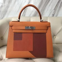 Fashion Hermes Three Color Epsom Calf Sellier Kelly Bag28CM Silver Hardware