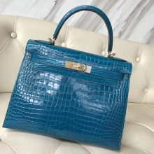 Luxury Hermes Porosus Shiny Crocodile Kelly28CM Tote Bag in 7W Blue Izmir Gold Hardware