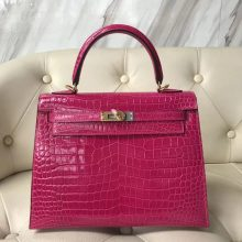 Pretty Hermes Shiny Crocodile Kelly Bag25CM in J5 Rose Scheherazade Gold Hardware