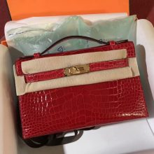 Pretty Hermes CK95 Braise Alligator Shiny Crocodile Minikelly Clutch Bag Gold Hardware