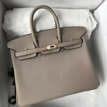 Sale Hermes Togo Calf Birkin25CM Bag in CK81 Gris Tourterelle Rose Gold Hardware