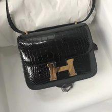Discount Hermes CK89 Black Shiny Alligator Crododile Constance19CM Bag Gold Hardware