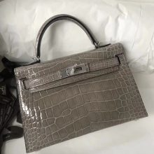 Fashion Hermes CK81 Gris Tourterelle Shiny Crocodile Minikelly-2 Clutch Bag Gold Hardware