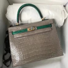 Luxury Hermes CK81 Gris Tourterelle/6Q Emerald Green Shiny Crocodile Kelly Bag25CM Gold Hardware