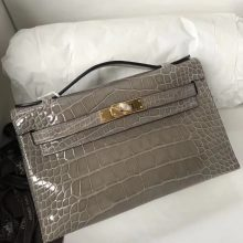 Discount Hermes Shiny Crocodile Minikelly Clutch Bag in CK81 Gris Tourterelle Gold Hardware