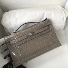 Wholesale Hermes CK81 Gris Tourterelle Shiny Crocodile Minikelly Evening Bag Silver Hardware