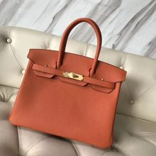 New Arrival Hermes CK93 Orange Togo Calf Birkin Bag30CM Gold Hardware