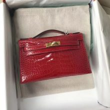High Quality Hermes CK95 Braise Shiny Alligator Crocodile Minikelly Clutch Bag22CM Gold Hardware
