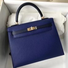 Discount Hermes Epsom Calf Kelly25CM Bag in 7T Blue Electric & Dark Blue Gold Hardware