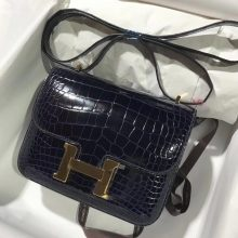 New Hermes 7K Blue Saphir Shiny Crocodile Constance Shoulder Bag18CM Gold Hardware