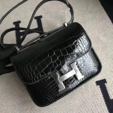 Wholesale Hermes Shiny Crocodile Constance19CM Bag in CK89 Black Silver Hardware